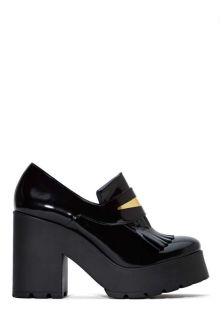 black patform block heel loafers